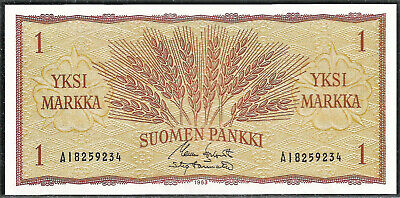 FINLAND BANKNOTE 1 MARKKA 1963 (UNC) !!! Shipping for Greece is $2.90