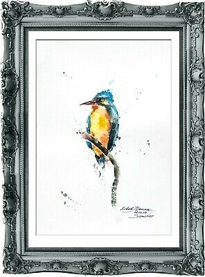 original painting bird aquarelle 75LM watercolor  signed A4