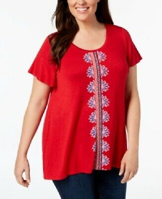 NWT Style and Co Blouse Plus Size Red Embroidered Short Sleeve Swing Hem