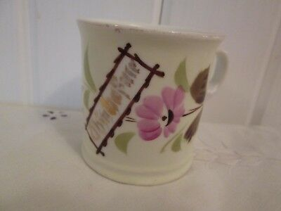 Antique Porcelain Gift Mug Cup Hand Painted Pink Floral Victorian Gold Writing