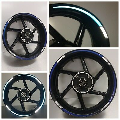 REFLECTIVE Blue & White 2 colour Tapered Motorcycle Wheel Rim  Tape stickers 025