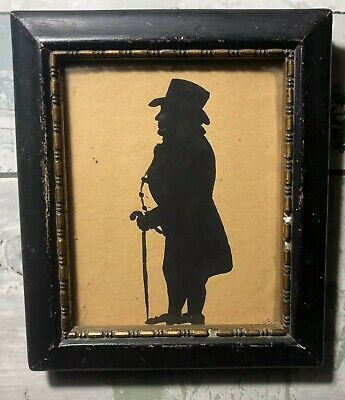 Antique Framed Miniature Silhouette Painting Portrait of a Gentleman