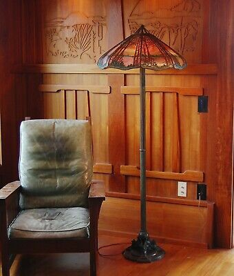 Handel Large Deciduous tree/Griffin floor lamp, mission,arts and crafts