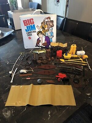 Vintage Mixed Lot Of Big Jim Accessories with Carry-All Case Mattel