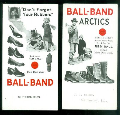 1930s 2 Advertising Ink Blotters Ball-Band Rubber Shoes Men Women