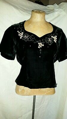 Vintage 1940's Black Rayon Velvet Rhinestones Beaded Top Mode de Paris Medium