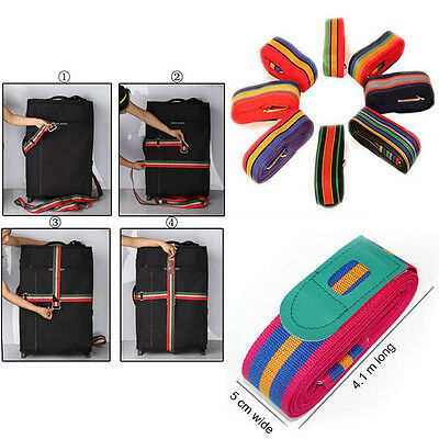 Long 4.2m Travel Luggage Suitcase Cross Strap Baggage Backpack Belt Metal Clasp