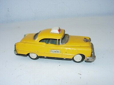 MARX Linemar Japan Yellow Taxi Tin Friction Toy Car working