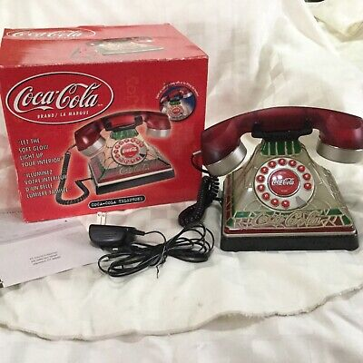 2001 Coca Cola Plastic Tiffany Stained Look Telephone w/ AC-DC Adaptor Works E3