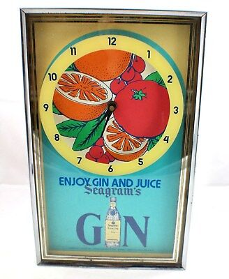 Vintage Seagrams Gin and Juice Wall Clock Working circa 1970's Bar Decor