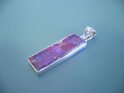 Long Purple Copper Turquoise Gemstone Pendant - Sterling Silver 925 - 4 Grams