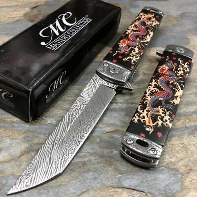 Master Collection 3cr13 steel Blade Fantasy Black Dragon Handle Pocket Knife