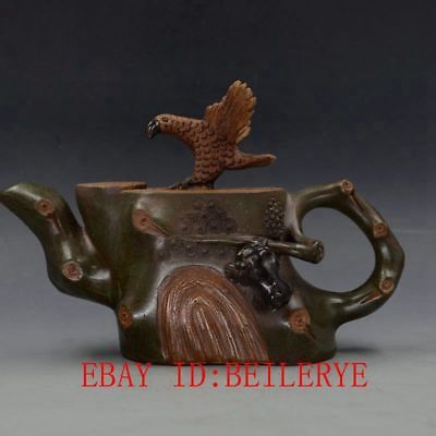 Vintage Chinese Yixing Zisha Hand-carved Eagle Teapot Made By Chen Mingyuan