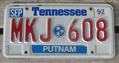 1992 Tennessee License Plate Putnam County # Mkj 608 Low S&h Will Combine