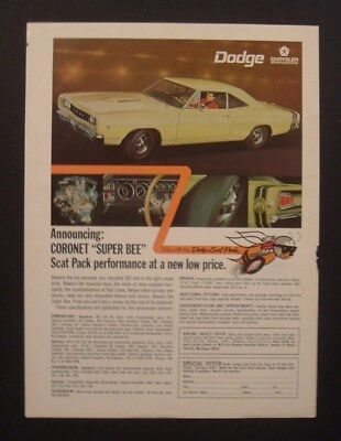 1968 Dodge Coronet Super Bee Scat Pack Hot Rod car ad life  print post 1969