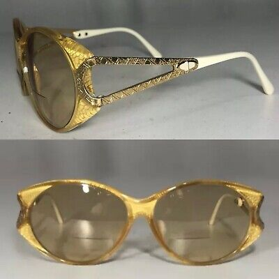 053aaa158bf Vintage 1980 s Christian Dior Austria Logo Gold Ivory Oval RX Sunglasses  2763