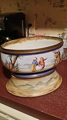Antique Early 1800's Hand Painted Porcelain Planter