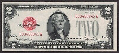 1928-G $2 Two Dollar United States Note Red Seal CRISP AU/UNC $.99 AUCTION #D157
