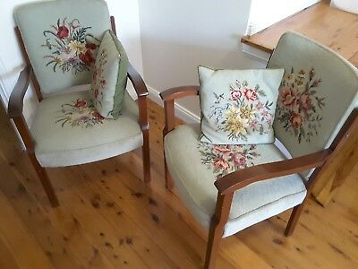 Restored bridge chairs, pair, swing back, hand stitched tapestry covers, cushion