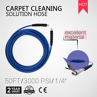 """15M Carpet Cleaning Solution Hose 1/4"""" Home Cleaner Heat Steel Braided Newest"""