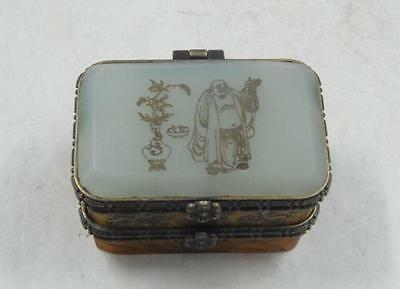 Old handmade old bones fine jade carving of Buddha & spend double jewelry box