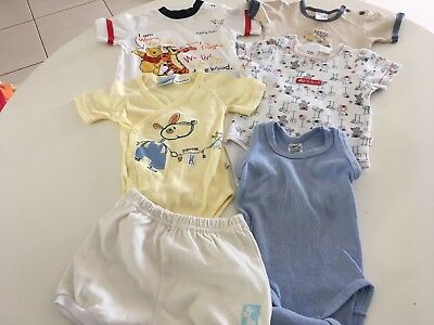 6 X Assorted Size 000 Baby Body Suits Etc