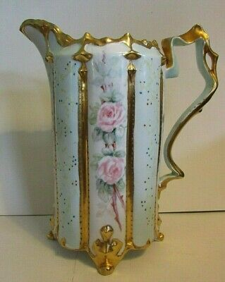 Antique Circa 1910 Handpainted Pitcher W/ Roses, Signed J. Moritz, French?