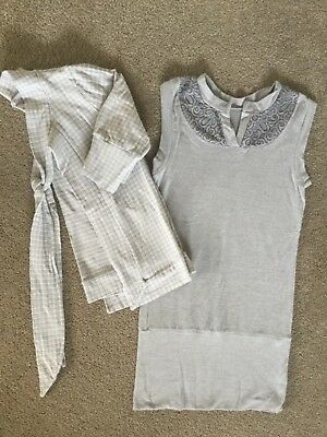 Girls grey MISS METALICUS 3/4 sleeve cardigan & fitted dress  SIZE 10-12