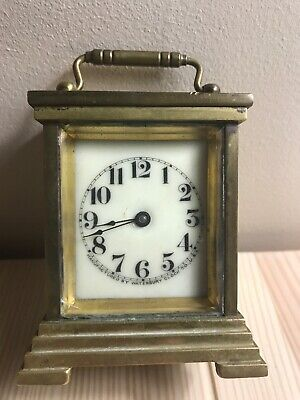 Antique Waterbury Brass Carriage Clock!! Porcelain Face, 1891! Tested & Running!