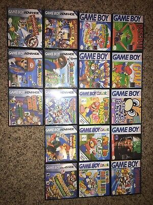 LOT OF 18 Game Boy, Game Boy Color, Game Boy Advance Games. Manuals & Custom