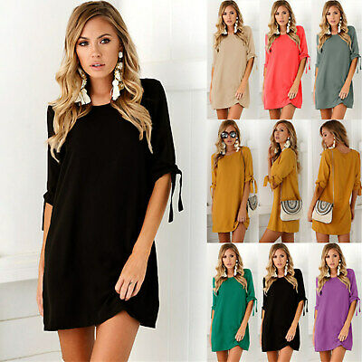 Plus Size! UK Women Short Sleeve Long Tops Blouse Ladies Summer Shirt Dress 6-20