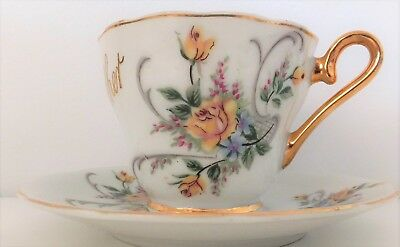 """""""Mother"""" Cup & Saucer Yellow Roses Made in Japan"""
