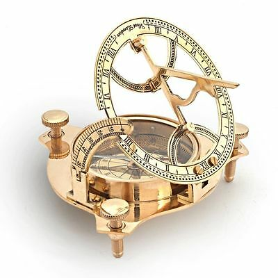 Handmade Nautical WEST LONDON Sundial Compass Vintage Solid Brass Working Compas