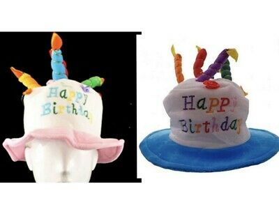 New Adults Happy Birthday Cake Hat Costume Fancy Dress with Candles Pink/Blue