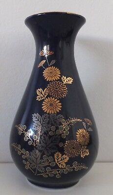 Vintage Collectable Cobalt Blue Vase gold gilt daisies and rim Made in Japan