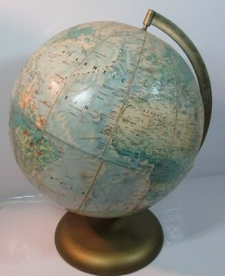 VTG RAND McNALLY WORLD PORTRAIT  RAISED TOPOGRAPHY 12 in. Globe Made in U.S.A.