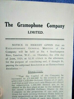 1929 THE GRAMOPHONE COMPANY LIMITED - Antique Phonograph, Notice to Shareholders