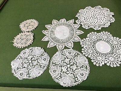 Lot of 6 Vintage Cream & White Crocheted Lace Doilies