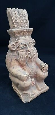 ANCIENT EGYPTIAN ANTIQUES Rare HUGE STATUE GOD BES STONE 18TH Dynasty 664-525 BC