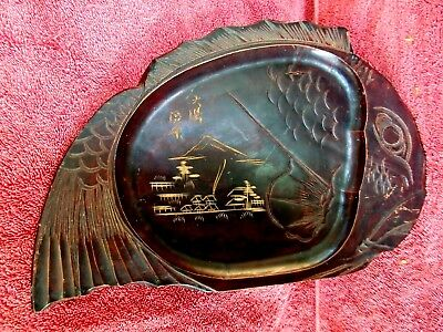 VINTAGE  ASIAN  HAND  CARVED  FISH  SHAPE  WOOD  PLATE/ SERVERING TRAY   31cm