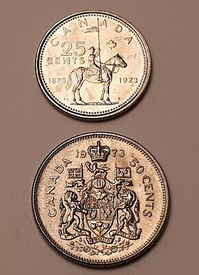Lot of 2 Coins : 1973 Canada (Mountie) 25 Cents  and 1973 Canada 50 Cents Coins
