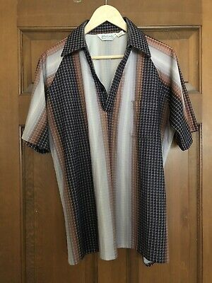 Vtg 70s Lilly Dache Mens Casual Short Sleeve Disco Shirt Size M