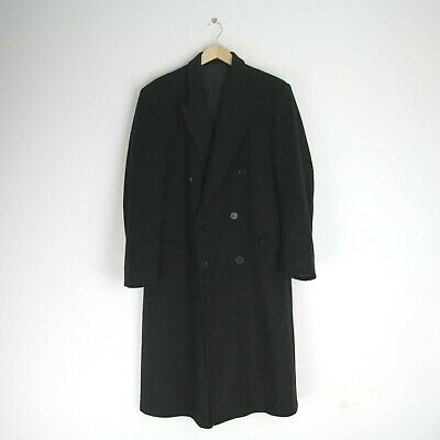 Mens Buttonhole Luxury Wool & Cashmere Long Smart Over Coat Dark Charcoal 38 M