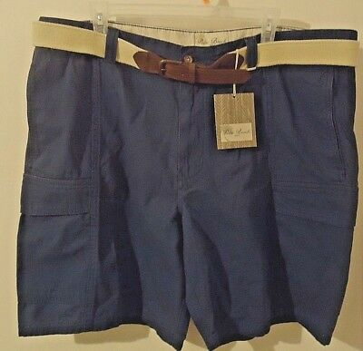 Mens Classic Fit Belted Cargo Shorts by Palm Beach 1922 Flat Front Blue Size 42