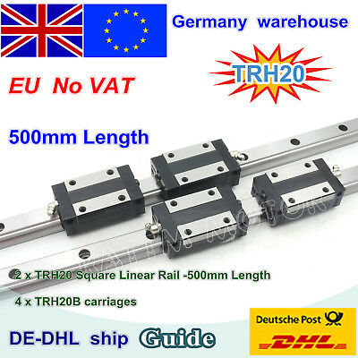 20mm Square Linear Guide Rail L-500mm+TRH20B Square Block for CNC Router Machine