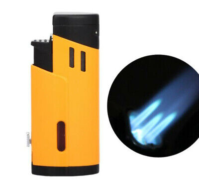 COHIBA Yellow Metal Windproof Cigar Lighter 3 Torch Flame Jet W/Cigar Punch