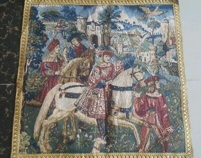 """Antique 19c Aubusson French Tapestry Beautiful Color Realview size 20""""x20cm51x51"""