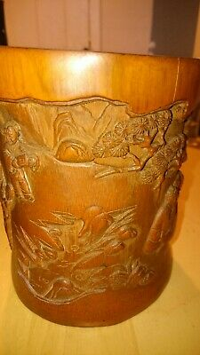 Antique chinese bamboo brush pot