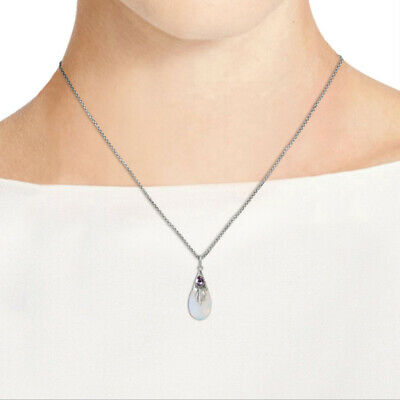 Unique Women Clear Moonstone Necklace Water-drop Shape Wedding Party Jewelry N7