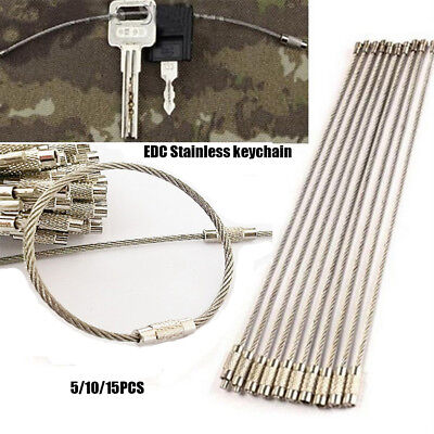 5/10/15Pcs EDC Stainless Steel Wire Keychain Cable Key Ring Chain Outdoor-Hiking